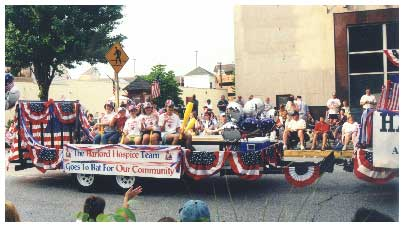 a typical float in the parade on July 4 in Bel Air
